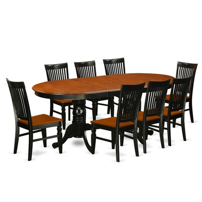 Pilcher 9 Piece Extendable Dining Set Color: Black/Cherry