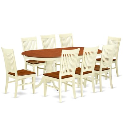Pilcher 9 Piece Extendable Dining Set Color: Buttermilk/Cherry
