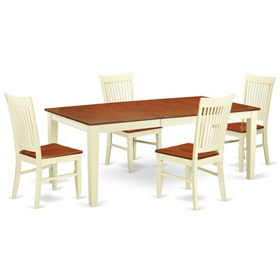 Pilger 5 Piece Extendable Dining Set Color: Buttermilk/Cherry