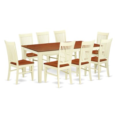 Pilger 9 Piece Extendable Dining Set Color: Buttermilk/Cherry