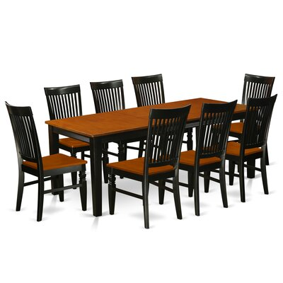 Pilger 9 Piece Extendable Dining Set Color: Black/Cherry
