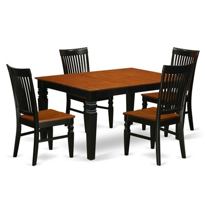 Pennington 5 Piece Wood Dining Set Color: Black/Cherry