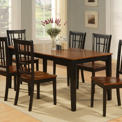 Pillar Dining Table Table Color: Black/Cherry