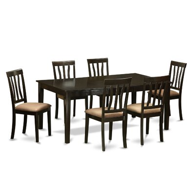 Henley 7 Piece Dining Set Upholstery: Black Faux Leather