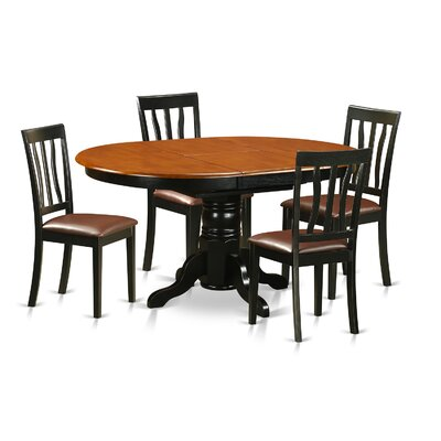 Easton 5 Piece Dining Set Finish: Black and Cherry