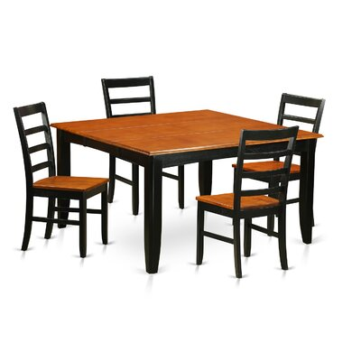 Parfait 5 Piece Dining Set Finish: Black, Upholstery: Wood Seat