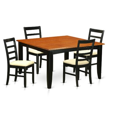 Parfait 5 Piece Dining Set Finish: Black, Upholstery: Microfiber