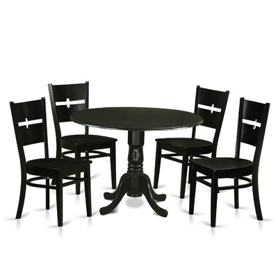 Dublin 5 Piece Dining Set Finish: Black