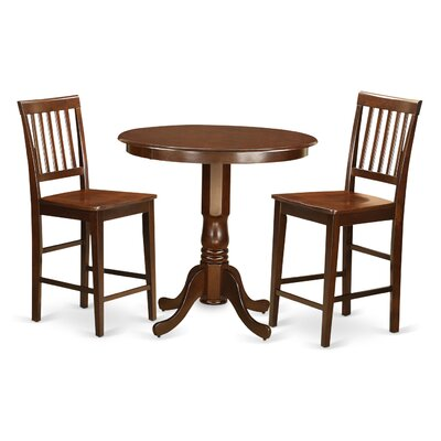Jackson 3 Piece Counter Height Pub Table Set Color: Mahogany