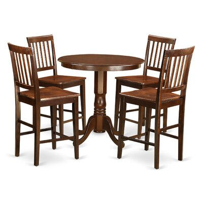 Jackson 5 Piece Counter Height Pub Table Set Color: Mahogany