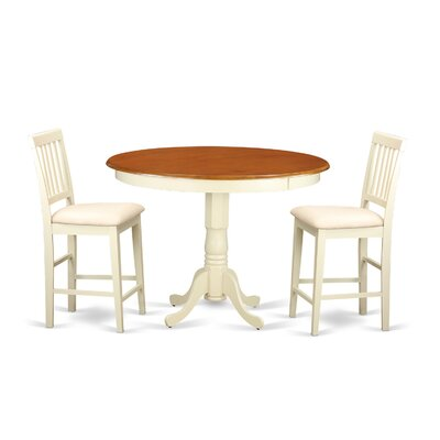 Trenton 3 Piece Counter Height Pub Table Set Color: Buttermilk and Cherry