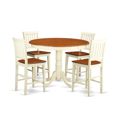 Trenton 5 Piece Counter Height Pub Table Set Finish: Buttermilk and Cherry