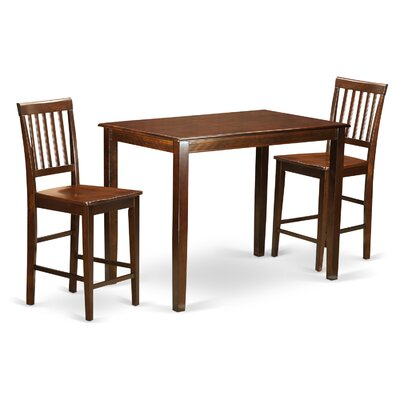 Yarmouth 3 Piece Counter Height Pub Table Set Color: Mahogany