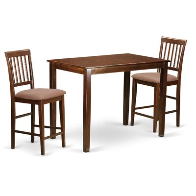 Yarmouth 3 Piece Counter Height Pub Table Set Finish: Mahogany