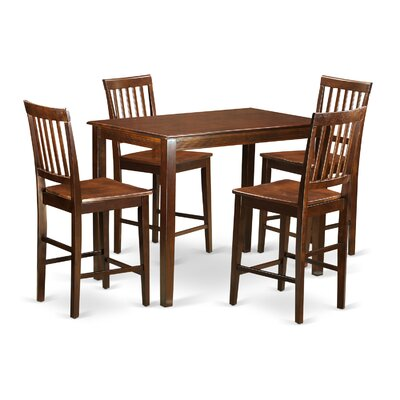 Yarmouth 5 Piece Counter Height Pub Table Set Color: Mahogany