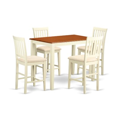 Yarmouth 5 Piece Counter Height Pub Table Set Finish: Buttermilk and Cherry