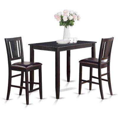 Buckland 3 Piece Counter Height Dining Set Set Of 2 Finish Black image