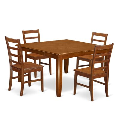 Parfait 5 Piece Dining Set Finish: Saddle Brown, Upholstery: Wood Seat