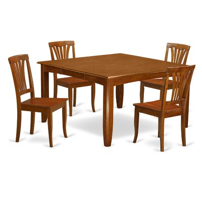 Parfait 5 Piece Dining Set Finish: Saddle Brown