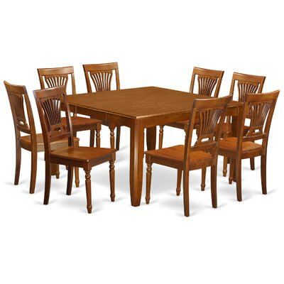Parfait 9 Piece Dining Set Finish: Saddle Brown