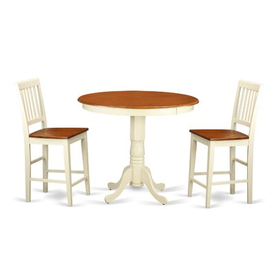 Jackson 3 Piece Counter Height Pub Table Set Color: Buttermilk and Cherry