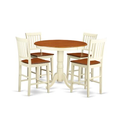Jackson 5 Piece Counter Height Pub Table Set Color: Buttermilk and Cherry