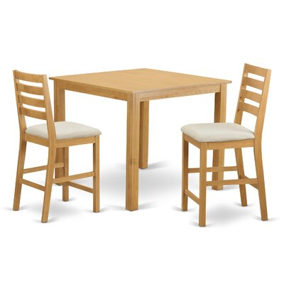 Caf? 3 Piece Counter Height Dining Set Finish: Natural Oak