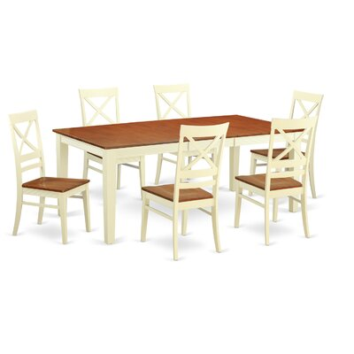 Quincy 7 Piece Dining Set Finish Buttermilk and Cherry