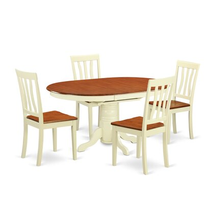 Easton 5 Piece Dining Set Finish: Buttermilk and Cherry