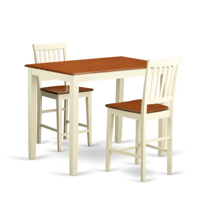 Yarmouth 3 Piece Counter Height Pub Table Set Finish: Buttermilk and Cherry