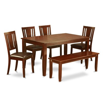Dudley 6 Piece Dining Set Finish: Mahogany, Chair Upholstery: Faux Leather