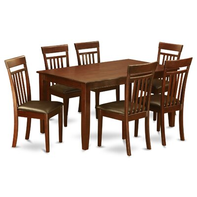 Dudley 7 Piece Dining Set Chair Upholstery: Faux Leather