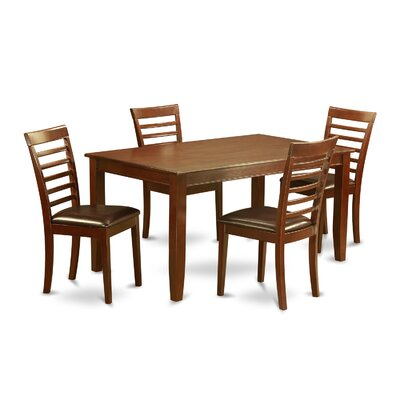 Dudley 5 Piece Dining Set Chair Upholstery: Faux Leather