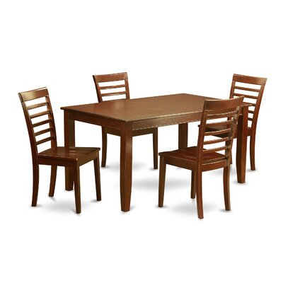 Dudley 5 Piece Dining Set Chair Upholstery: Wood Seat