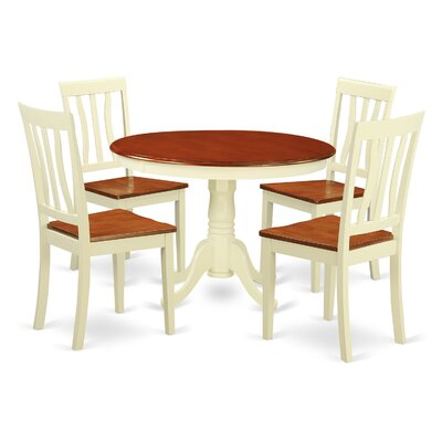 Hartland 5 Piece Dining Set Finish: Buttermilk and Cherry