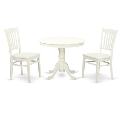 3 Piece Dining Set Finish: White