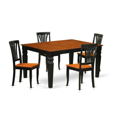 Arkin 5 Piece Dining Set Finish: Black