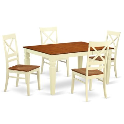 Annable 5 Piece Dining Set Finish: Buttermilk & Cherry