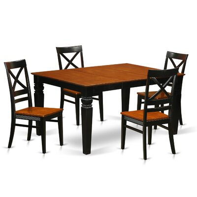 Annable 5 Piece Dining Set Finish: Black & Cherry