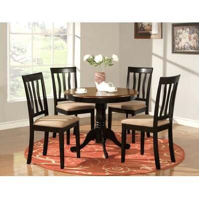 WOIM Antique Dining Table (5 Pieces) - Finish: Black and Cherry