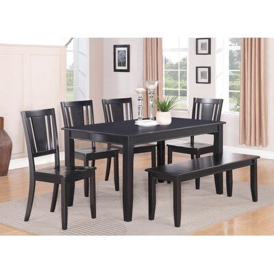 Dudley 6 Piece Dining Set Chair Upholstery: Non-Upholstered Wood, Finish: Black