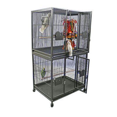Large Double Bird Cage Color: Black