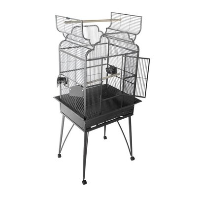 Large Victorian Dome Top Bird Cage Color: Black