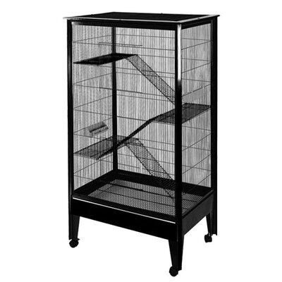 Large 4-Level Small Animal Cage Color: Black