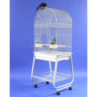 Dome Top Bird Cage with Plastic Base and Stand Color: Black