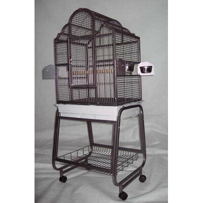 Victorian Bird Cage with Plastic Base Color: Platinum