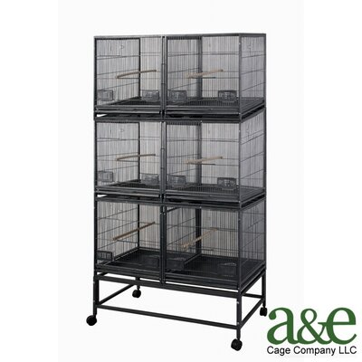 3 Level Bird Cage with 3 Removable Dividers and 6 Units Color: Black