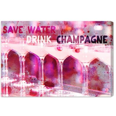 LAB Creative Save Water Graphic Art on Canvas Size: 16