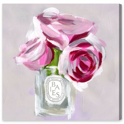 'Rose Candle' Painting Print on Wrapped Canvas Size: 43