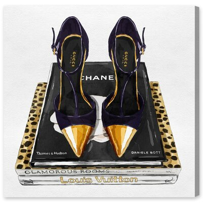 Italian Shoes and Glam Books Graphic Art on Wrapped Canvas